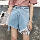 Ripped Wide Leg Denim Shorts