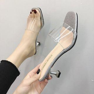 Transparent Strap High Heel Slippers