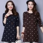 Long-sleeve Dotted Long Top