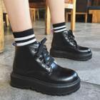Faux-leather Platform Lace-up Ankle Boots