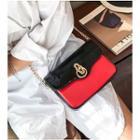 Color Block Patent Chain-strap Shoulder Bag