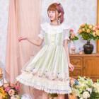 Lace Panel Printed Pinafore Dress