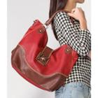 Twist Lock Two-tone Tote Bag Red - One Size
