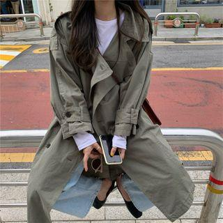 Double-breasted Midi Trench Coat Dusky Green - One Size