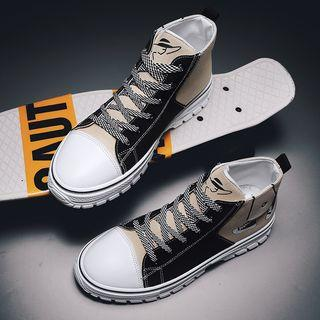 Contrast-color Lace-up High-top Sneakers