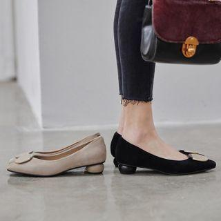 Block Heel Round Accent Pumps