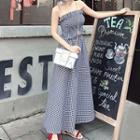 Set: Strapless Check Top + Maxi Skirt