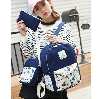 Set: Print Panel Canvas Backpack + Shoulder Bag + Zip Pouch