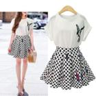 Set: Printed Top + Dotted Skirt