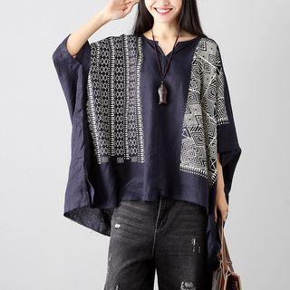 Batwing 3/4-sleeve Print Top Navy Blue - One Size