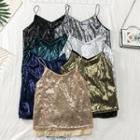 Two-tone Sequined Camisole Top