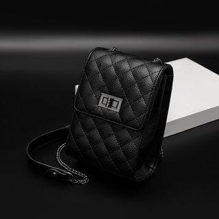 Quilted Twist Lock Crossbody Bag Rhombus - Black - One Size