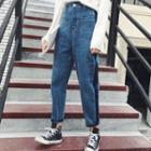 Color Panel Baggy Jeans