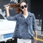 Double-buttoned Washed Denim Jacket