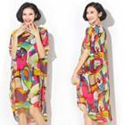 Patterned Oversized Chiffon Dress