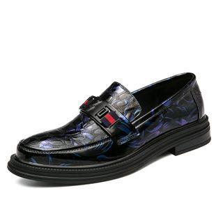 Faux-leather Floral Buckled Loafers