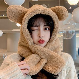 Bear Ear Wool Hooded Scarf