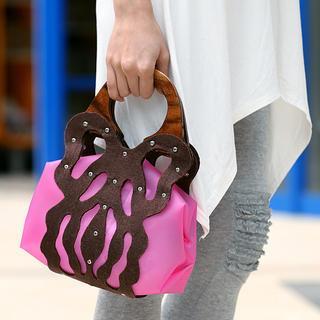 Butterfly Handbag Fuchsia, Dark Gray - One Size