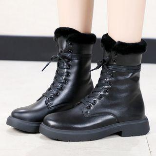 Faux Leather Furry Lace-up Short Boots