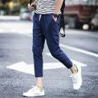 Drawstring Cropped Slim-fit Tapered Pants