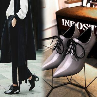 Genuine Leather Heeled Oxfords