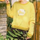 Distressed Sleeve Bee Embroidered Sweater
