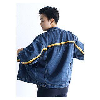 Contrast-trim Washed Denim Jacket Dark Blue - One Size