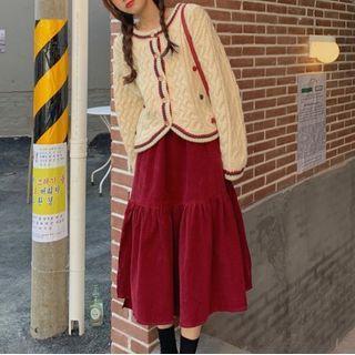 Contrast Trim Cardigan / Tiered Midi A-line Skirt