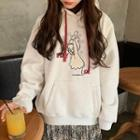 Long-sleeve Hooded Loose-fit Print Top