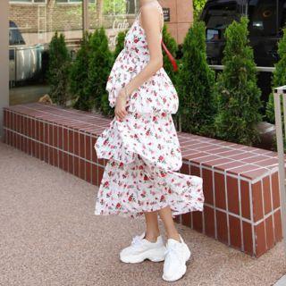 Sakura Print Frilled Sleeveless Dress