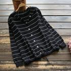 Long-sleeve Striped Buttoned Hooded Knit Top