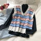 Heart Print Knit Vest Blue - One Size