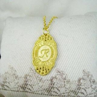 Gold Initial R Necklace Gold - One Size