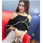 Off-shoulder Piped Elbow-sleeve Chiffon Top