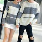 Couple Matching Color Block Chunky Knit Sweater