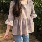 Elbow-sleeve Plaid Top As Shown In Figure - One Size