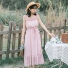 Frill Trim Sleeveless Midi Chiffon Dress