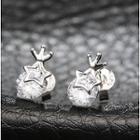 Sterling Silver Rhinestone Star Studs