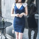 Ruffle Shirred Sheath Dress