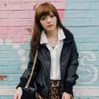 Faux-leather Hooded Jacket
