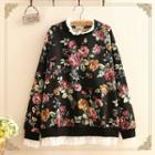 Floral Print Mock Two-piece Pullover
