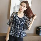 Set: V-neck Printed Elbow-sleeve Top + Plain Camisole Top