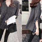 Split-neck Striped Blouse