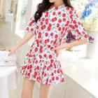 Set: Cherry Printed Short-sleeve Top + Skirt