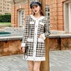 Long-sleeve Mini Tweed Dress