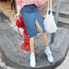 Slit-front Denim Midi Pencil Skirt