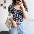 Short-sleeve Floral Printed Top