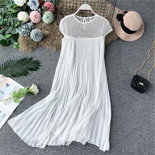 Faux-pearl Detail Mesh Panel Chiffon Dress