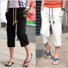 Drawstring Lettering Cropped Pants