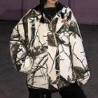 Hooded Camo Padded Coat As Shown In Figure - One Size